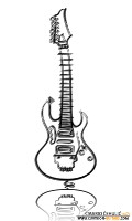 IBANEZ JEM electric guitar illustrated caricature