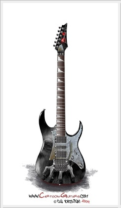 IBANEZ RG350 Custom cartoon guitar illustration