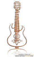 Unique acoustic guitar illustrated caricature