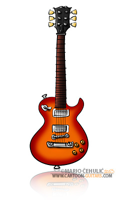 Gibson Les Paul guitar illustrated caricature